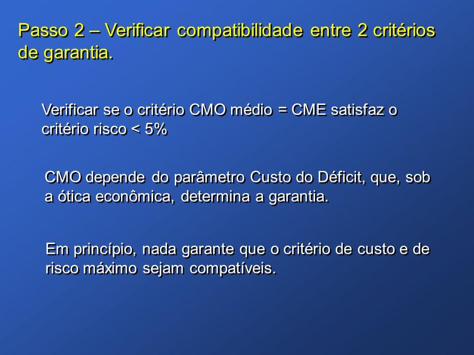 Passo 2 – Verificar compatibilidade entre 2 critérios de garantia.