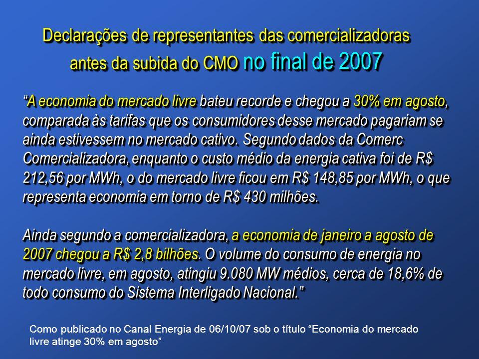 Declarações de representantes das comercializadoras antes da subida do CMO no final de 2007