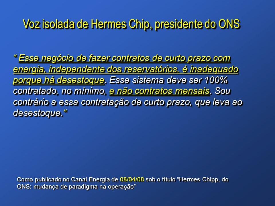 Voz isolada de Hermes Chip, presidente do ONS