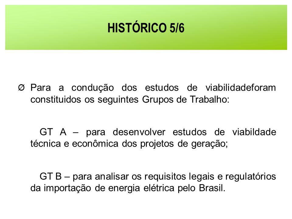 HISTÓRICO 5/6 Para a condução dos estudos de viabilidadeforam constituidos os seguintes Grupos de Trabalho: