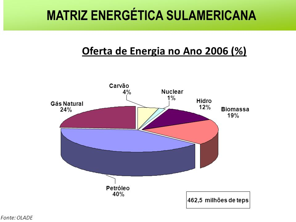 MATRIZ ENERGÉTICA SULAMERICANA Oferta de Energia no Ano 2006 (%)