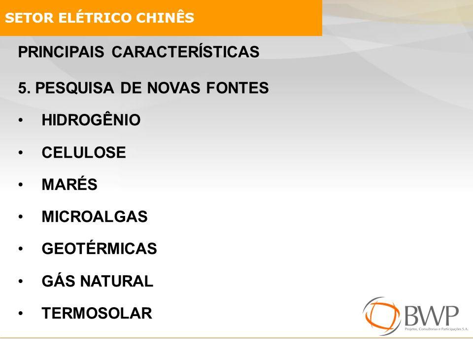 PRINCIPAIS CARACTERÍSTICAS 5. PESQUISA DE NOVAS FONTES HIDROGÊNIO