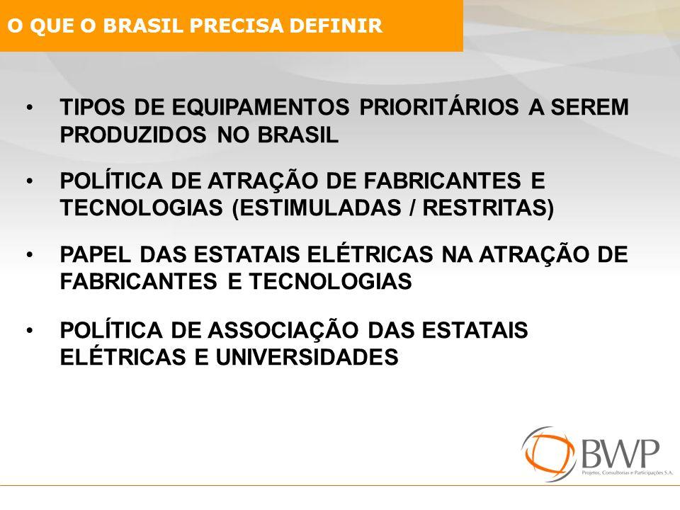 TIPOS DE EQUIPAMENTOS PRIORITÁRIOS A SEREM PRODUZIDOS NO BRASIL