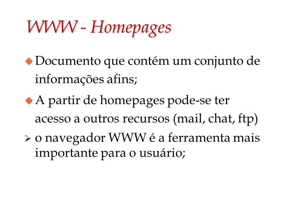 WWW - Homepages Documento que contém um conjunto de informações afins;