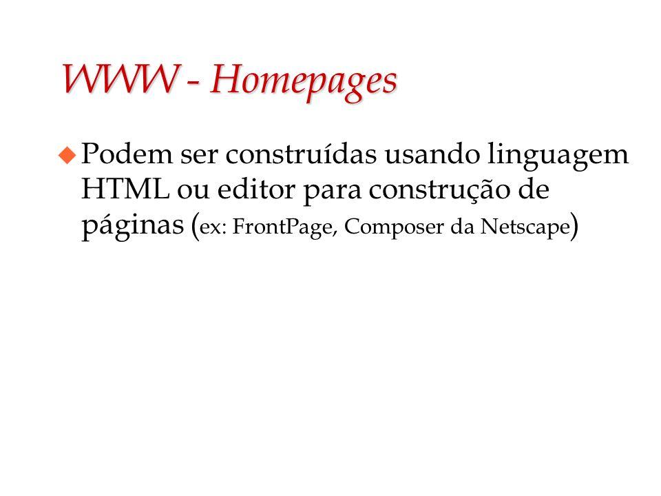WWW - HomepagesPodem ser construídas usando linguagem HTML ou editor para construção de páginas (ex: FrontPage, Composer da Netscape)