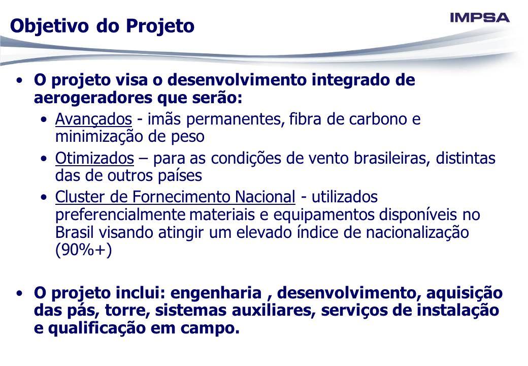 Objetivo do Projeto O projeto visa o desenvolvimento integrado de aerogeradores que serão: