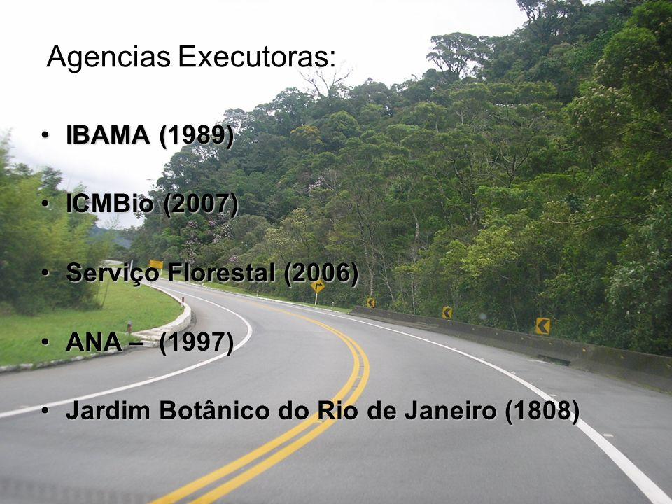 Agencias Executoras: IBAMA (1989) ICMBio (2007)