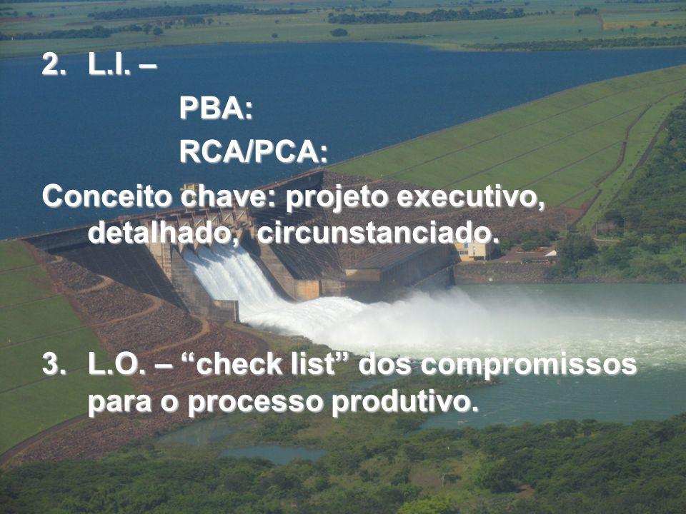 L.I. – PBA: RCA/PCA: Conceito chave: projeto executivo, detalhado, circunstanciado.