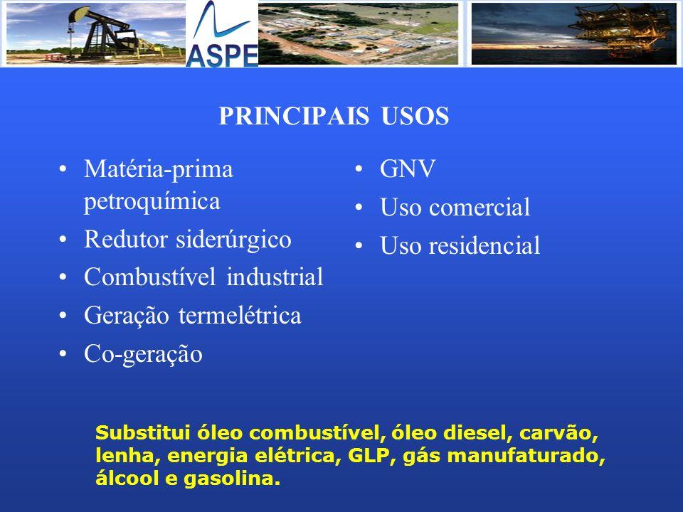 Matéria-prima petroquímica Redutor siderúrgico Combustível industrial