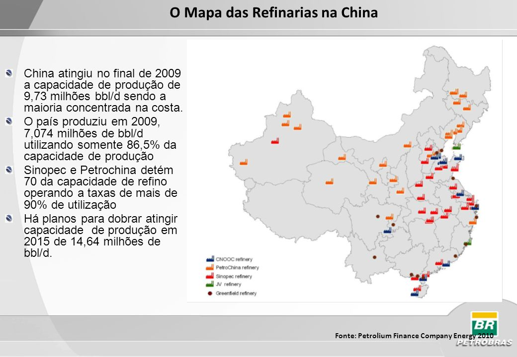 O Mapa das Refinarias na China