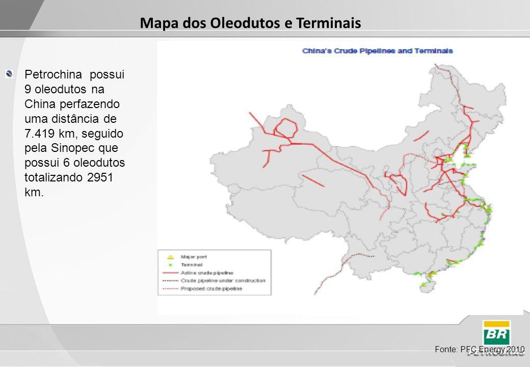 Mapa dos Oleodutos e Terminais