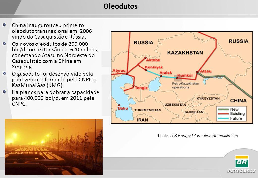 Oleodutos China inaugurou seu primeiro oleoduto transnacional em 2006 vindo do Casaquistão e Rússia.