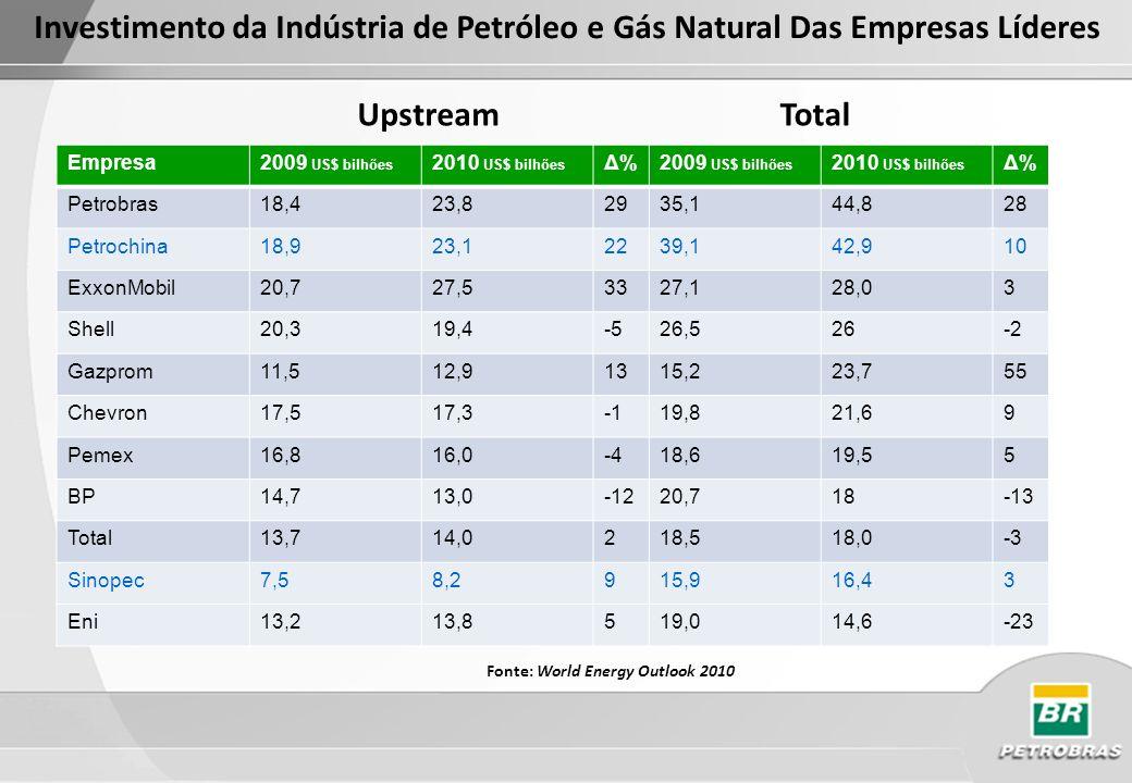 Investimento da Indústria de Petróleo e Gás Natural Das Empresas Líderes