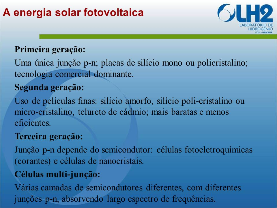 A energia solar fotovoltaica