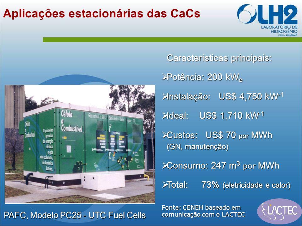Aplicações estacionárias das CaCs