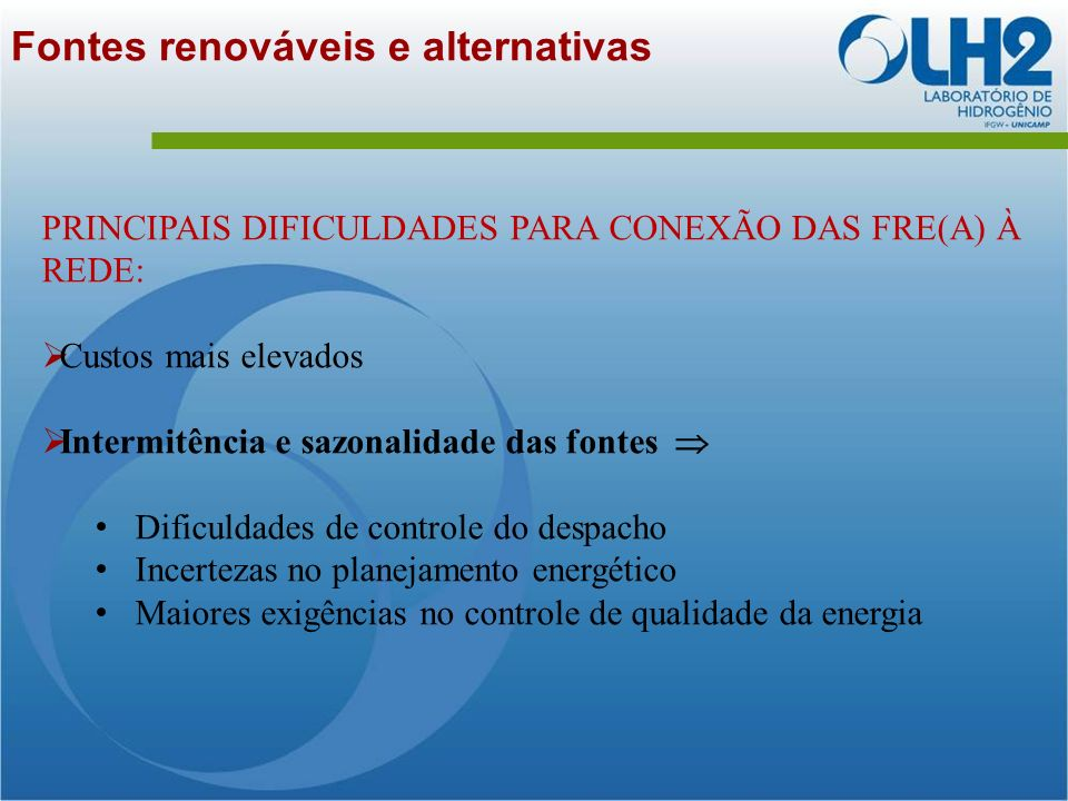 Fontes renováveis e alternativas