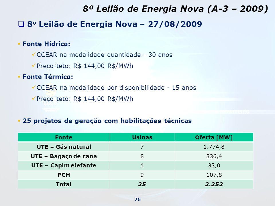 8º Leilão de Energia Nova (A-3 – 2009)