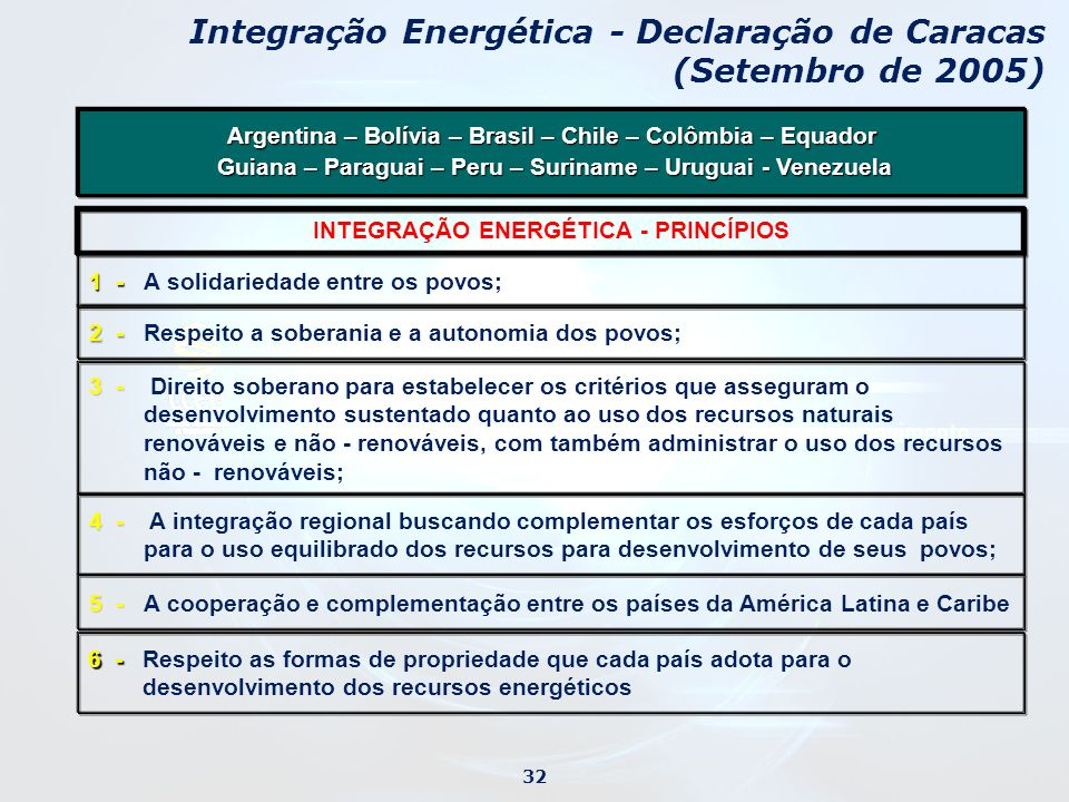 Integração Energética - Declaração de Caracas (Setembro de 2005)