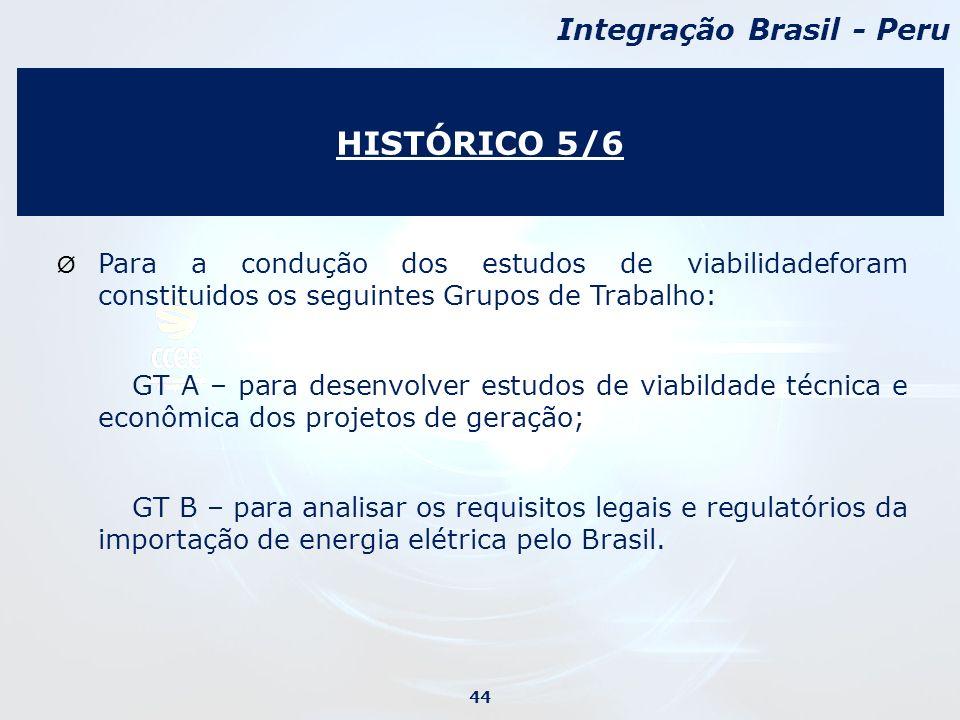 HISTÓRICO 5/6 Integração Brasil - Peru