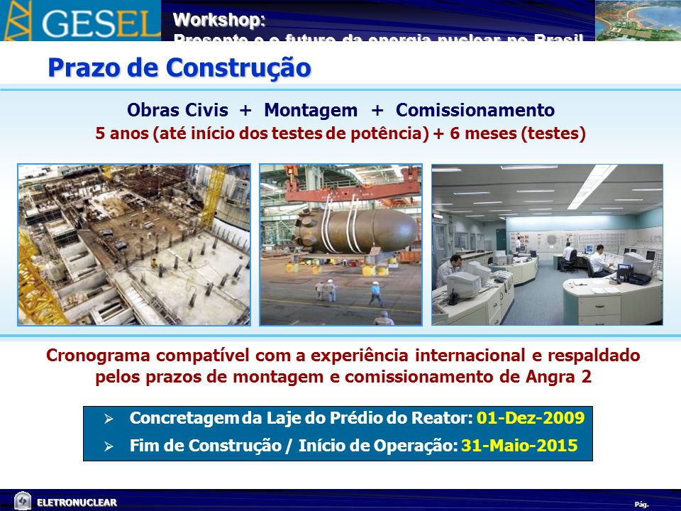 Prazo de Construção Obras Civis + Montagem + Comissionamento
