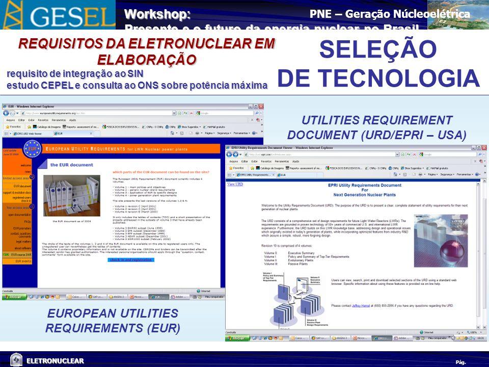 SELEÇÃO DE TECNOLOGIA REQUISITOS DA ELETRONUCLEAR EM ELABORAÇÃO