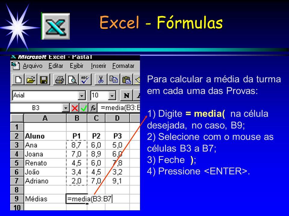 Excel - Fórmulas Para calcular a média da turma