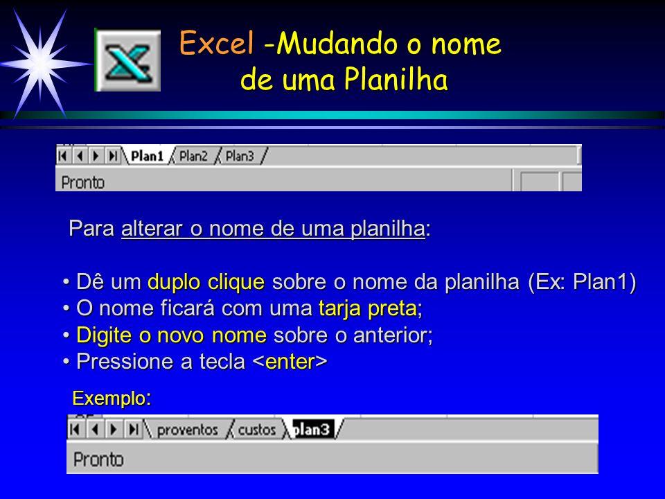 Excel -Mudando o nome de uma Planilha