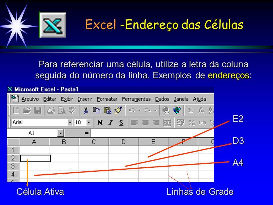 Excel -Endereço das Células