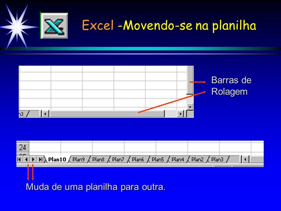 Excel -Movendo-se na planilha