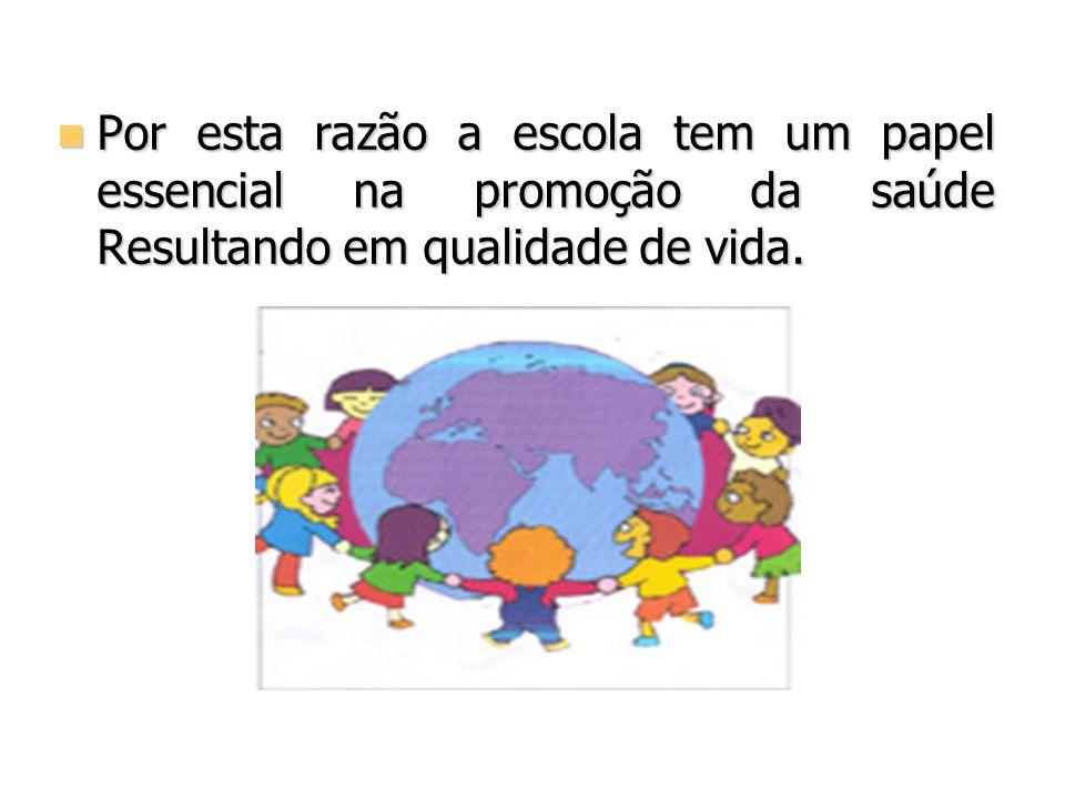 Por esta razão a escola tem um papel essencial na promoção da saúde Resultando em qualidade de vida.