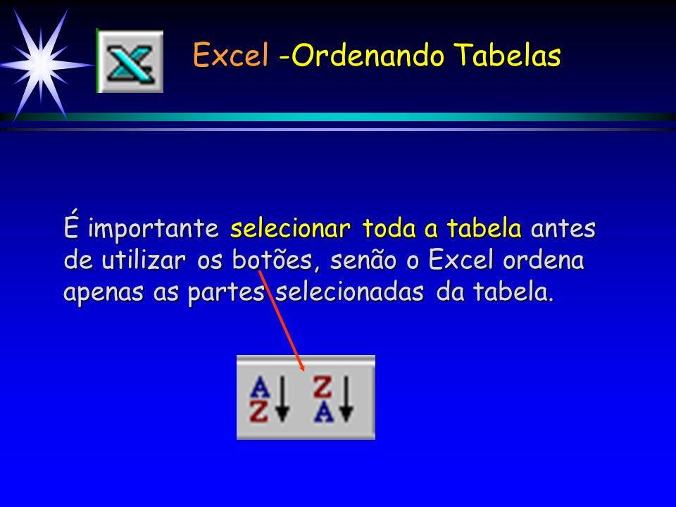 Excel -Ordenando Tabelas