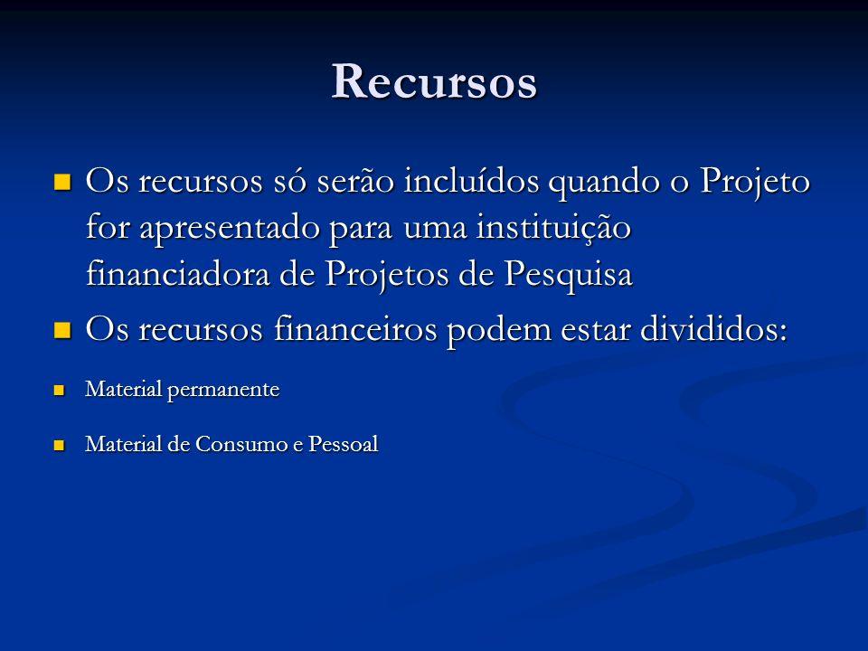 Recursos Os recursos só serão incluídos quando o Projeto for apresentado para uma instituição financiadora de Projetos de Pesquisa.