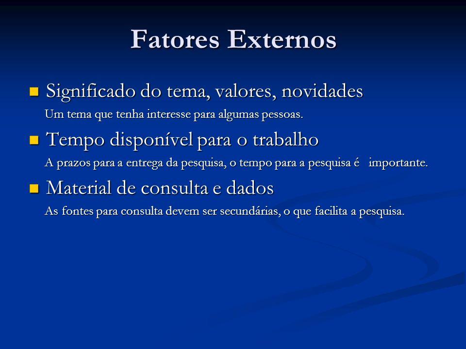 Fatores Externos Significado do tema, valores, novidades