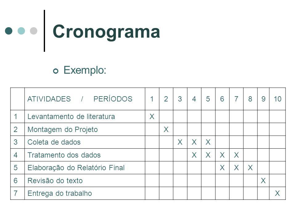 Cronograma Exemplo: ATIVIDADES / PERÍODOS 1 2 3 4 5 6 7 8 9 10