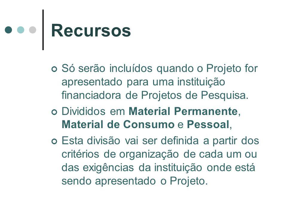 Recursos Só serão incluídos quando o Projeto for apresentado para uma instituição financiadora de Projetos de Pesquisa.