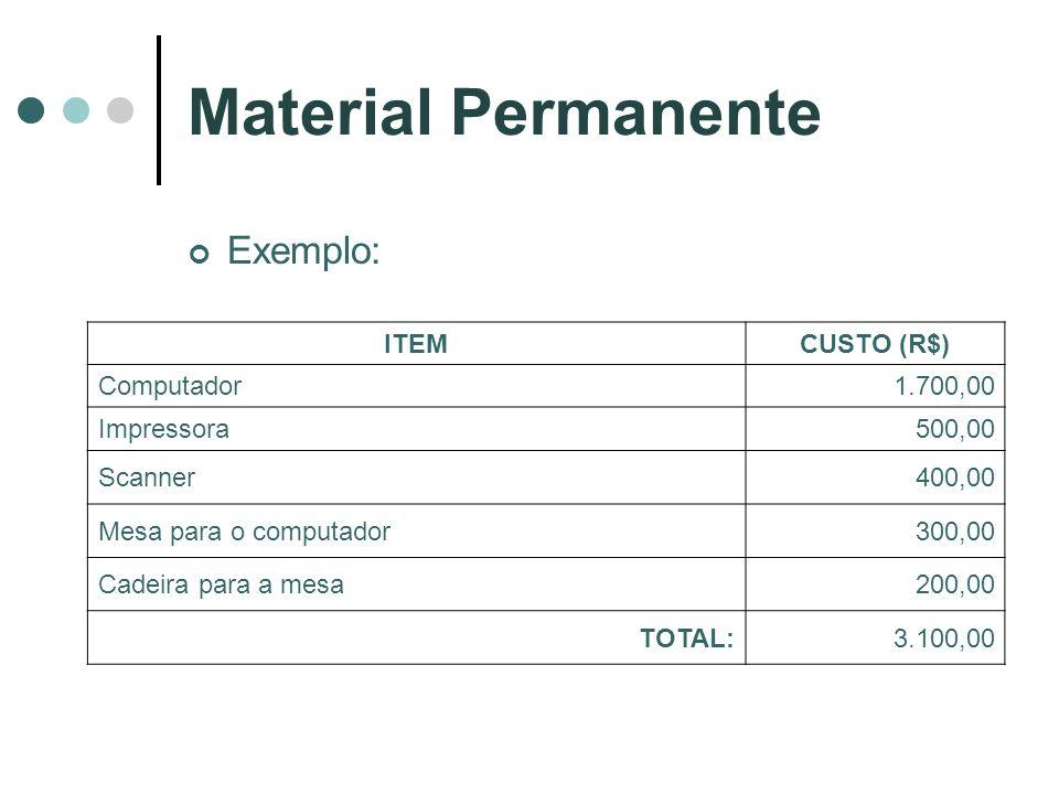 Material Permanente Exemplo: ITEM CUSTO (R$) Computador 1.700,00
