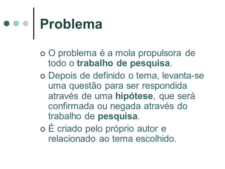 Problema O problema é a mola propulsora de todo o trabalho de pesquisa.