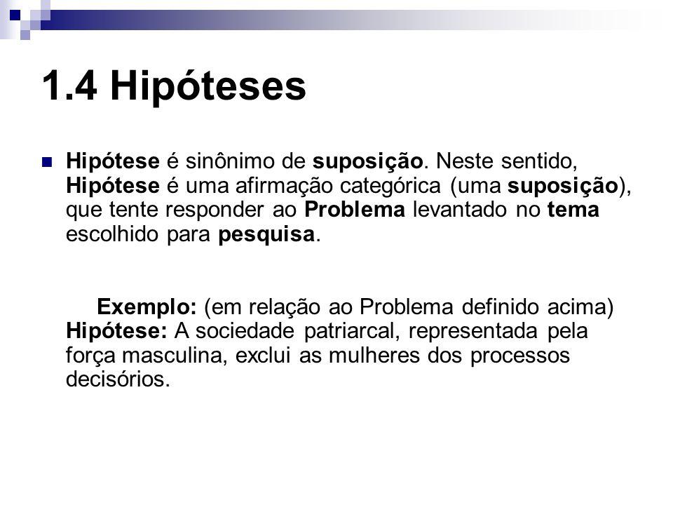1.4 Hipóteses