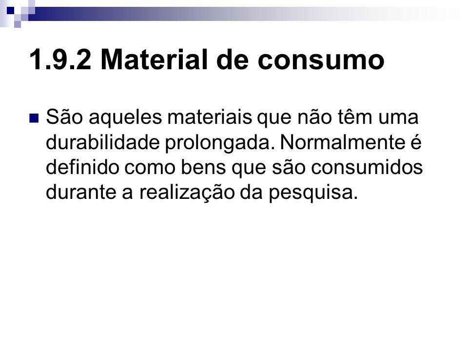 1.9.2 Material de consumo