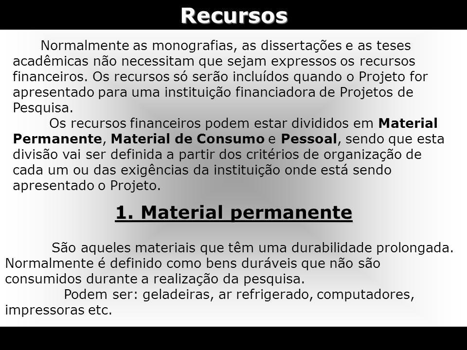 Recursos 1. Material permanente