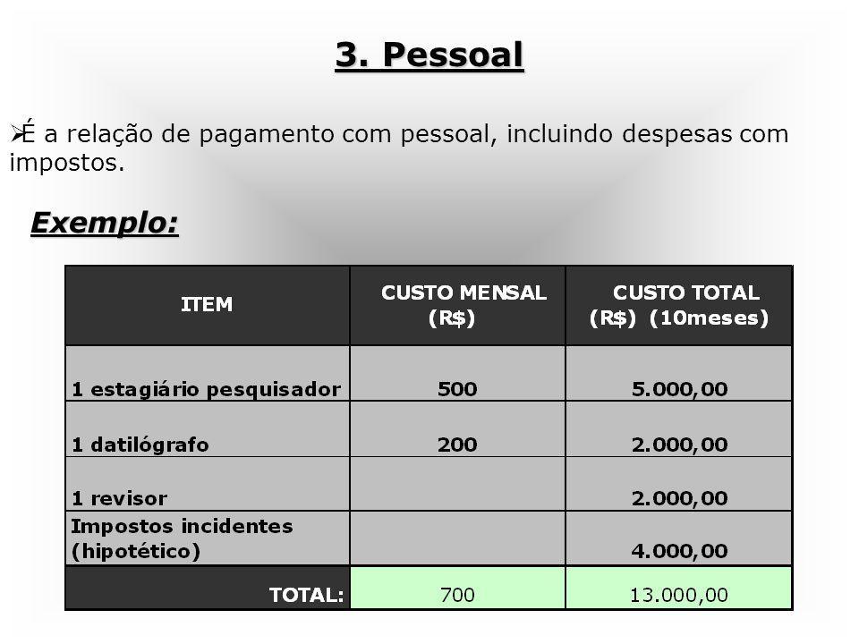 3. Pessoal É a relação de pagamento com pessoal, incluindo despesas com impostos. Exemplo: