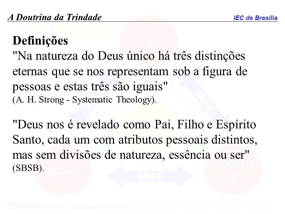 Definições Na natureza do Deus único há três distinções eternas que se nos representam sob a figura de pessoas e estas três são iguais