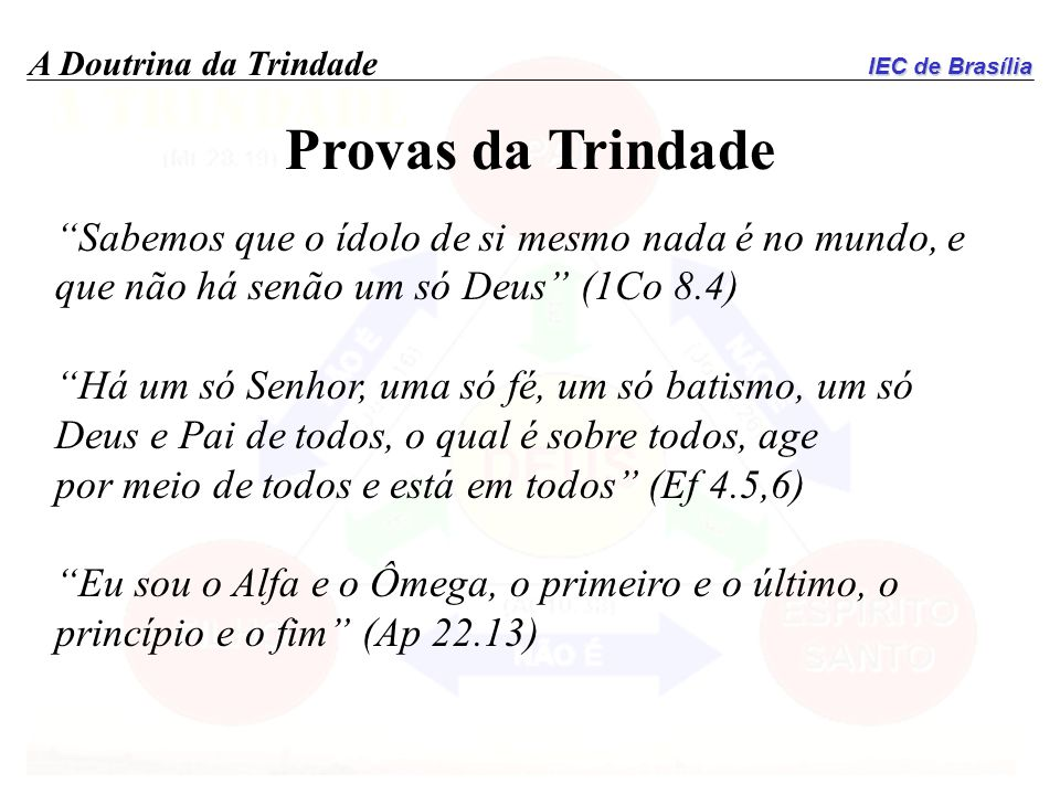 Provas da Trindade Sabemos que o ídolo de si mesmo nada é no mundo, e que não há senão um só Deus (1Co 8.4)