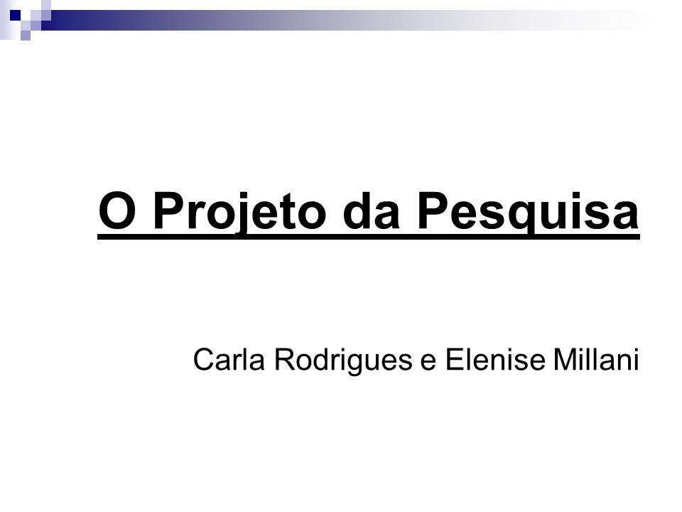 O Projeto da Pesquisa Carla Rodrigues e Elenise Millani