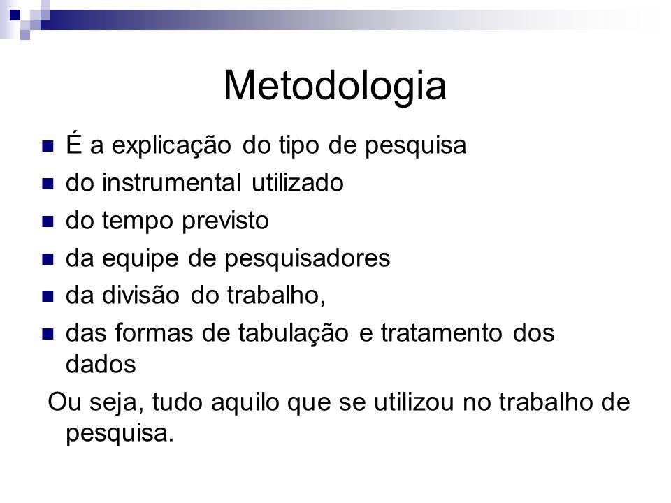 Metodologia É a explicação do tipo de pesquisa