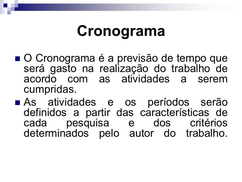 Cronograma O Cronograma é a previsão de tempo que será gasto na realização do trabalho de acordo com as atividades a serem cumpridas.