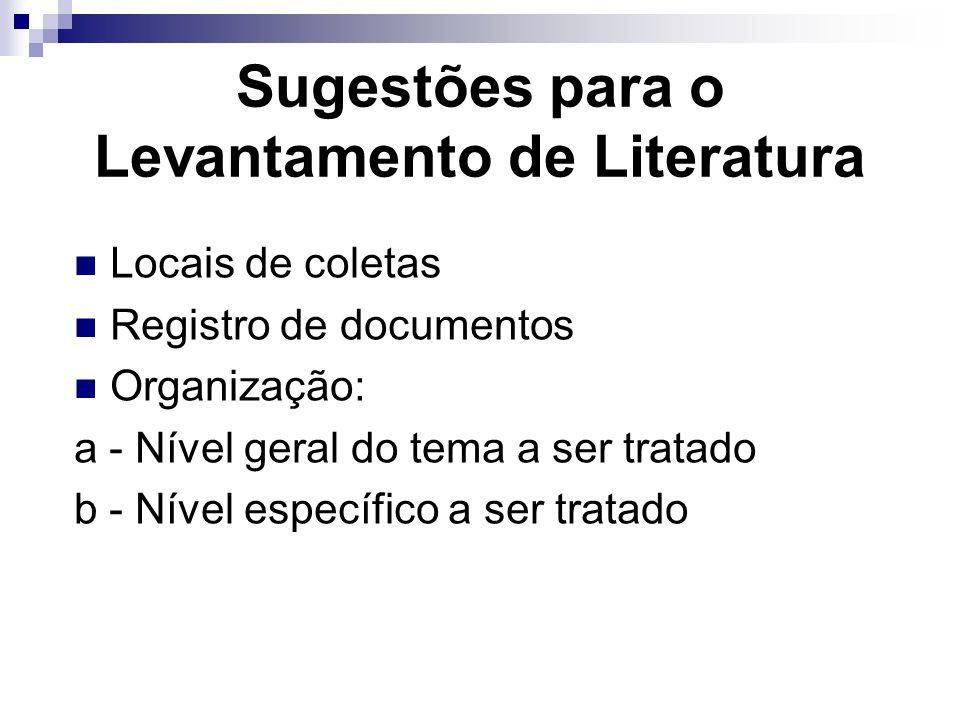Sugestões para o Levantamento de Literatura