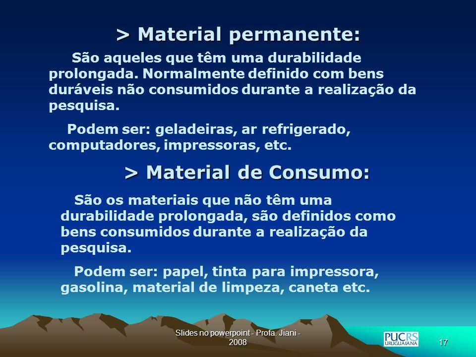 > Material permanente: