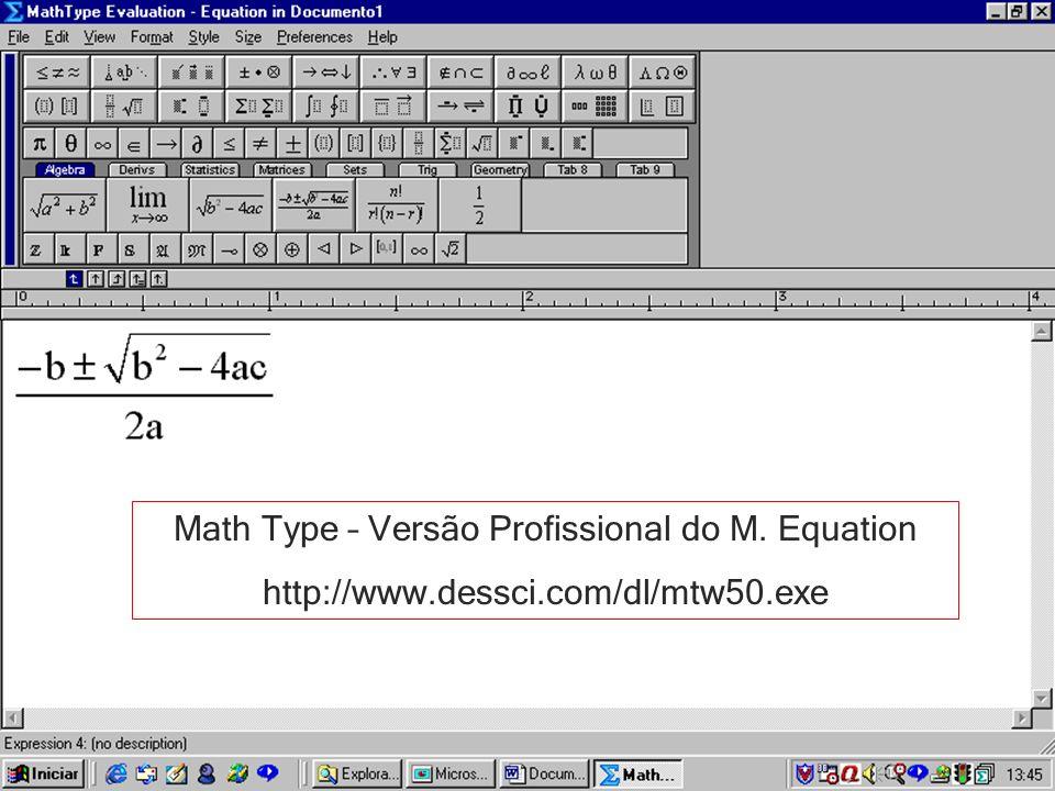 Math Type – Versão Profissional do M. Equation