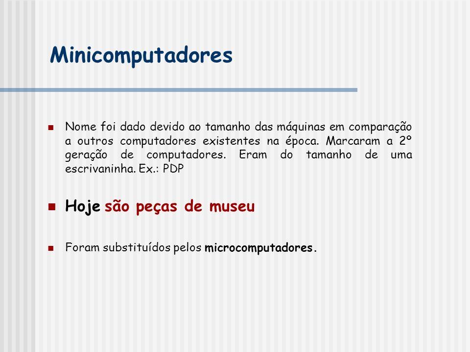 Minicomputadores Hoje são peças de museu